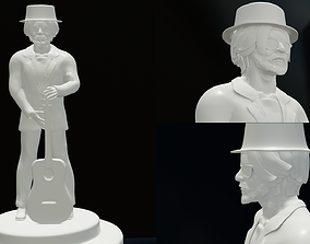 3D printable model singer with guitar