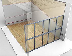 3D asset VR / AR ready Squash Sport Tennis Court low poly