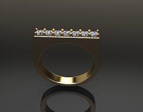Dainty Diamond Narrow Bar Ring Band Mix 3D printable model