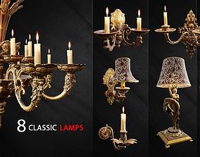3D asset 8 Classic Lamps Unreal 4 - UE4 Unreal Engine lamp