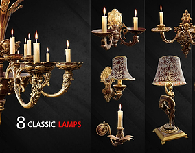 3D asset 8 Classic Lamps Unreal 4 - UE4 Unreal Engine lamp