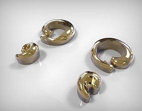 Jewelry Earring Golden Plain Spiral 3D printable model