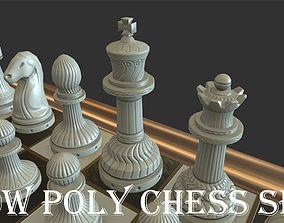 3D asset Low poly Chess Set