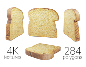 3D model game-ready Whole Wheat Bread Slice