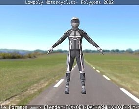 Rigged Lowpoly Motorcyclist - Polygons 2802 3D asset