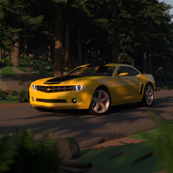 Chevrolet Camaro in the woods