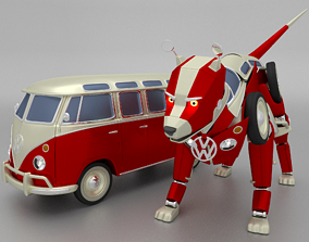 rigged VW Bulli Samba T1 Transformer 3D model dog