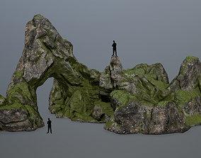rock gate moss 3D asset low-poly