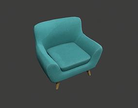 Teal Armchair 3D asset