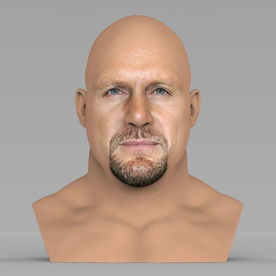 Stone Cold Steve Austin bust for full color 3D printing
