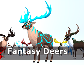 3D model LowPoly Fantasy Deers pack