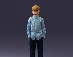 Barefoot boy in a blue shirt 0104 3D Print Ready