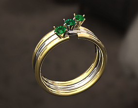 Ring with 3 diamonds reflection 3D print model