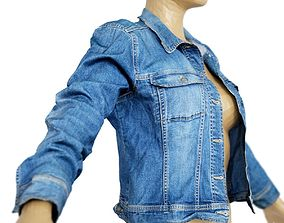 3D asset Jacket Slim Fit Dark Blue Jeans Open Women