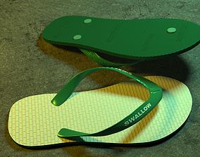 simple realistic flip-flops 3D asset