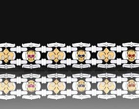 3D printable model Bracelet with skulls and