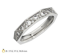 N123 Geometric style Diamond Ring Signature 3D print model