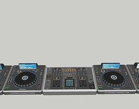 3D model Pionner Decks and mixer