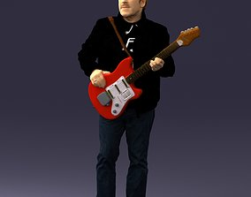Man with electric guitar 0006 3D Print Ready