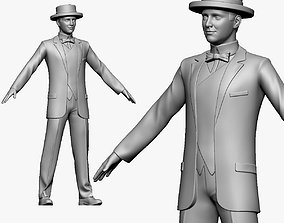 001135 man in suit and t-hat 3d print ready