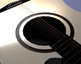 3D model High Poly Guitar with rig and textures Ready to