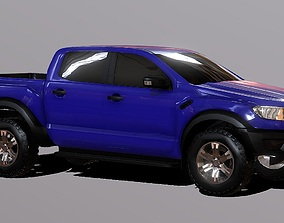 low-poly Ford Ranger Raptor Pickup Truck 3D Model