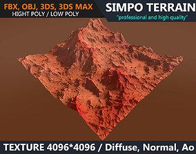 3D model Low poly Realistic Mars Terrain 03 - Game Ready