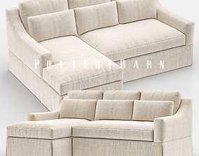 York Slope Arm Slipcovered Sofa Chaise Sectional 3D