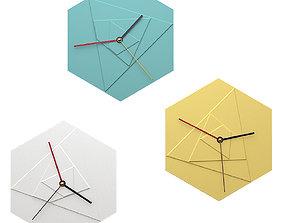 Modern geometric wall clocks with pastel colors 3D model