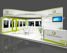 Exhibition stall 3d model 8x6 mtr 2 sides open 1
