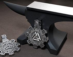 3D printable model pendant with runes
