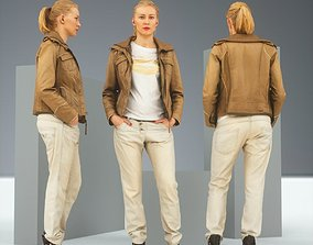 3D model Casual Blonde in Brown Leather Jacket and Jeans