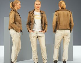 Casual Blonde in Brown Leather Jacket and 3D asset