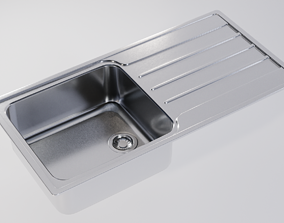 Kitchen Sink With Drain and Strainer - PBR 3D model