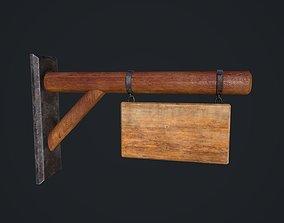 3D asset Wooden Signboard dark