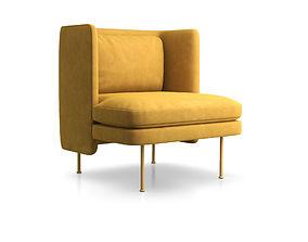 3D model Bloke Velvet Lounge Chair by Blu Dot