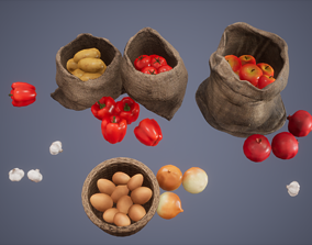 Fruit Set Low Poly Game Ready 3D model
