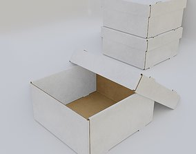 Cardboard Self-Assembly Box With Lid 3D model