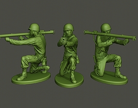 3D printable model American soldier ww2 Shoot crouched A4