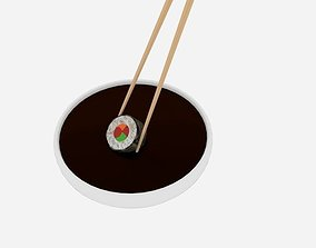 3D model Chopstick Dip Sushi Roll Slice Nori