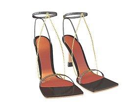 3D asset Square Toe Leather Sandals v2 003