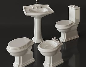 Classical bathroom furniture set - toilet washbasin 3D