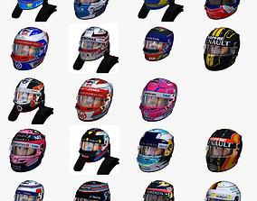3D asset Helmets 2018 formula 1