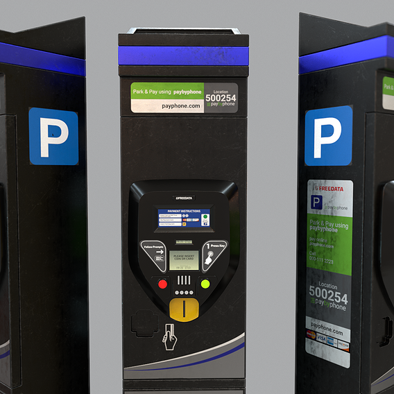 Parking Meter Low-poly 3D model