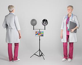 3D model Female medical doctor with folder 255