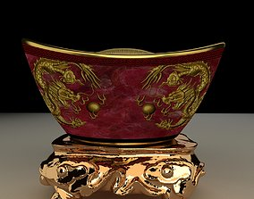 3D Chinese gold ingot architectural