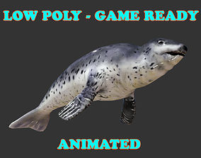3D model Low poly Leopard Seal Animated - Game Ready