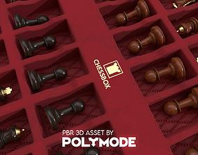 3D asset Wooden Chessboard Game-ready
