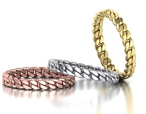 Miami Cuban Link Chain Ring Stackble Ring 3D print model