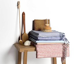 Stack of Towels with Brushes set 3D model